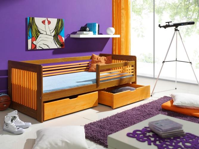 CLARA tömör fa leesésgátlós gyerekágy ágyneműtartóval