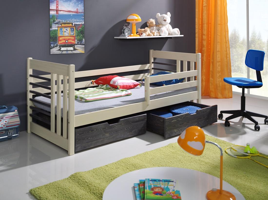 OTILIA tömör fa leesésgátlós gyerekágy ágyneműtartóval