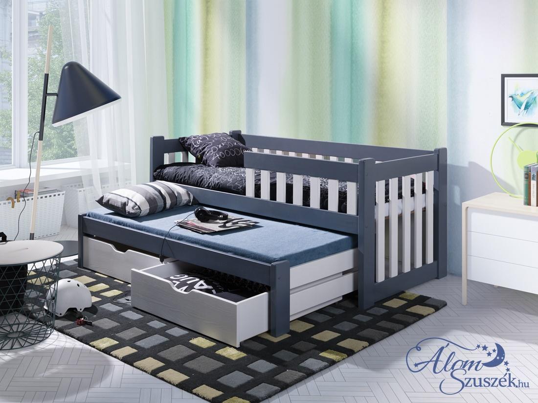FILIP 2 tömör fa leesésgátlós kétszemélyes gyerekágy kihúzható ággyal ágyneműtartóval