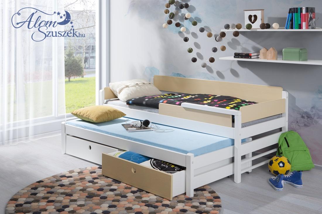 NATI 2 tömör fa leesésgátlós kétszemélyes gyerekágy kihúzható ággyal ágyneműtartóval