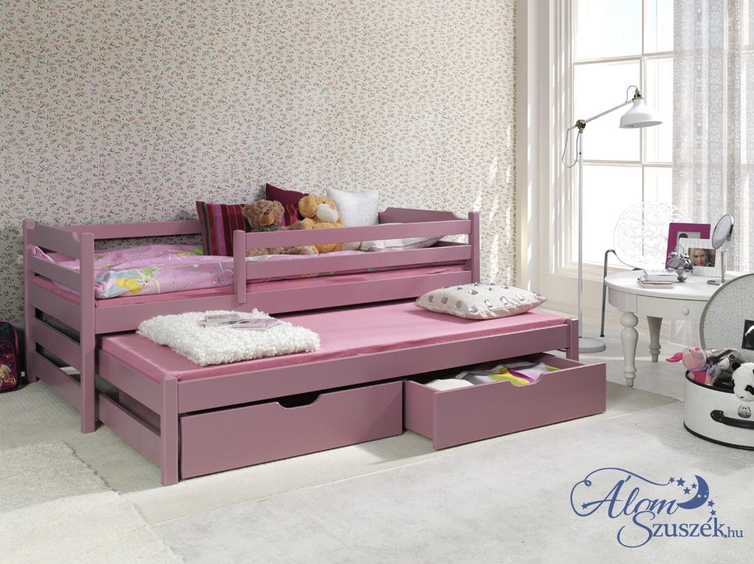 MARCI 2 tömör fa leesésgátlós kétszemélyes gyerekágy kihúzható ággyal ágyneműtartóval
