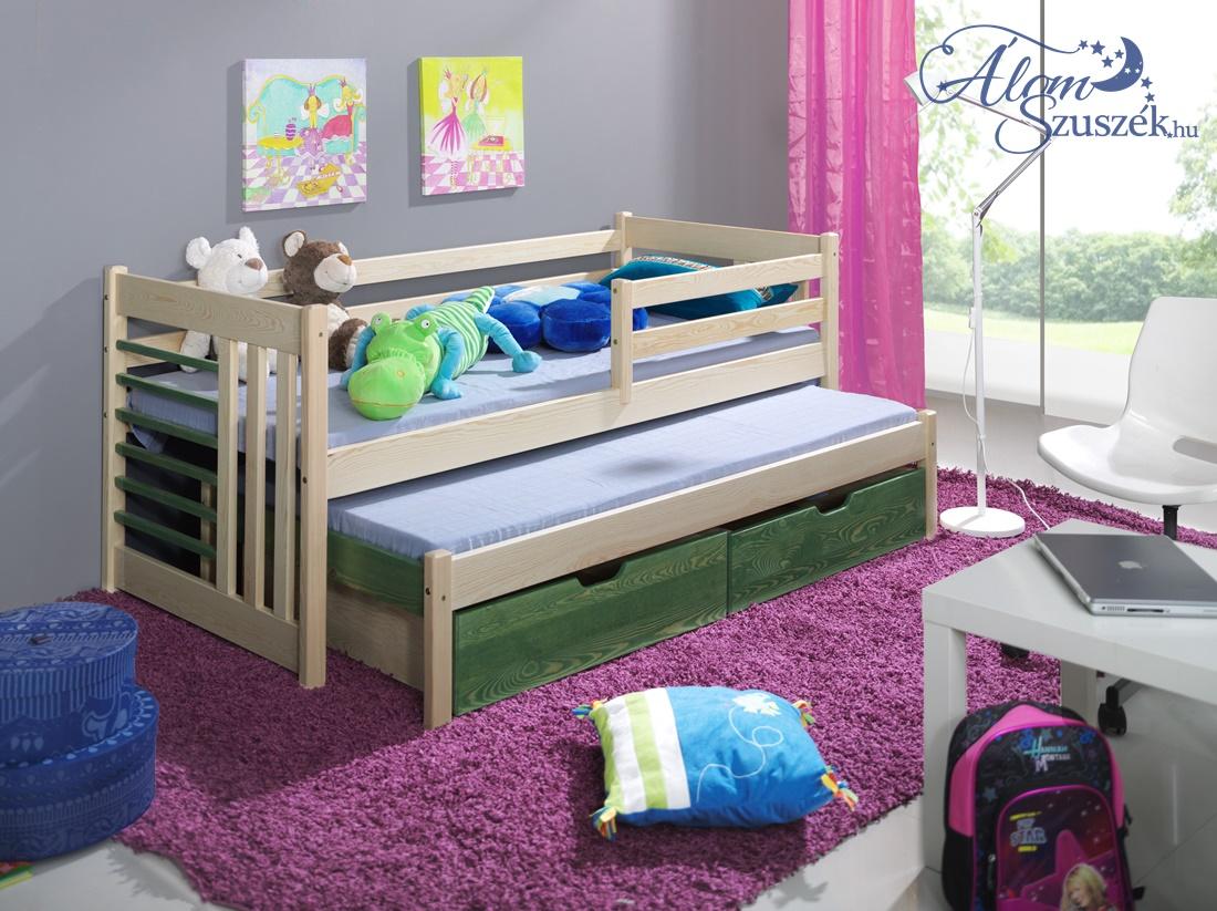 OTILIA 2 tömör fa leesésgátlós kétszemélyes gyerekágy kihúzható ággyal ágyneműtartóval