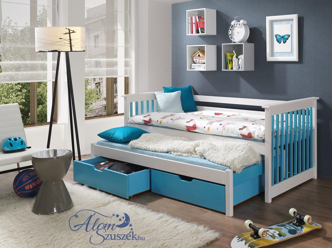 SIRI 2 tömör fa kétszemélyes gyerekágy kihúzható ággyal ágyneműtartóval