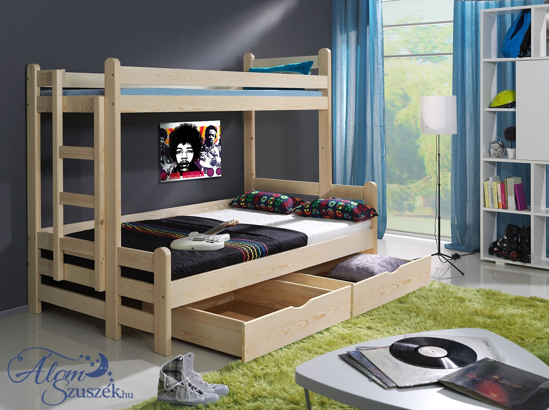 BENI tömör fa emeletes gyerekágy matraccal ágyneműtartóval