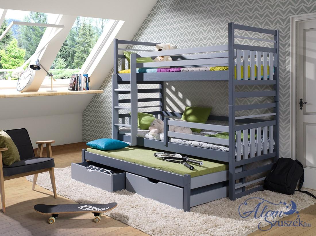 HIPPO háromszemélyes emeletes gyerekágy ágyneműtartóval