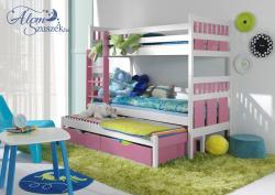 MAXI háromszemélyes emeletes gyerekágy ágyneműtartóval 2.Kép