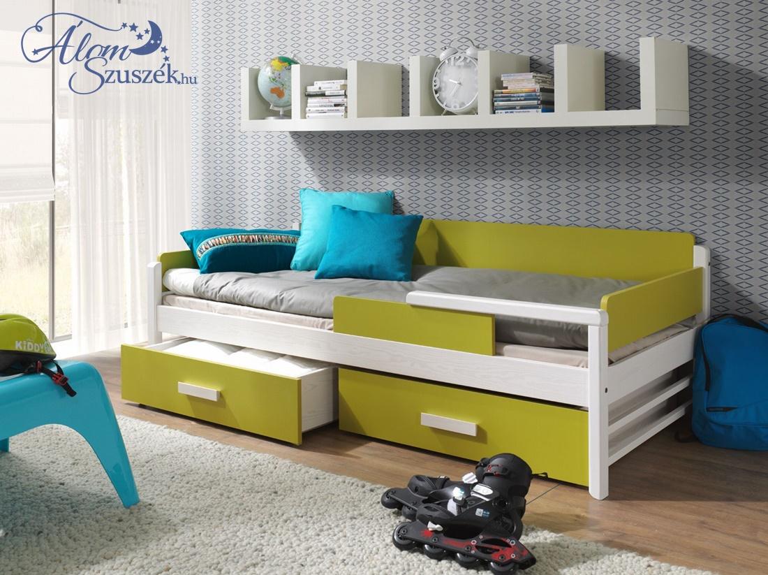 TERRA bútorlappal kombinált tömör fa gyerekágy ágyneműtartóval
