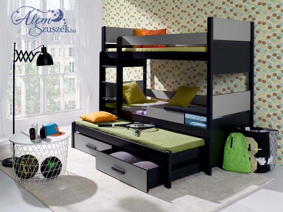 AIRA3 bútorlappal kombinált tömör fa háromszemélyes emeletes gyerekágy ágyneműtartóval