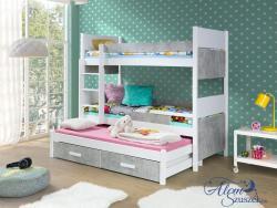 AIRA3 bútorlappal kombinált tömör fa háromszemélyes emeletes gyerekágy ágyneműtartóval 2.Kép