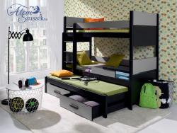 AIRA3 bútorlappal kombinált tömör fa háromszemélyes emeletes gyerekágy ágyneműtartóval 1.Kép
