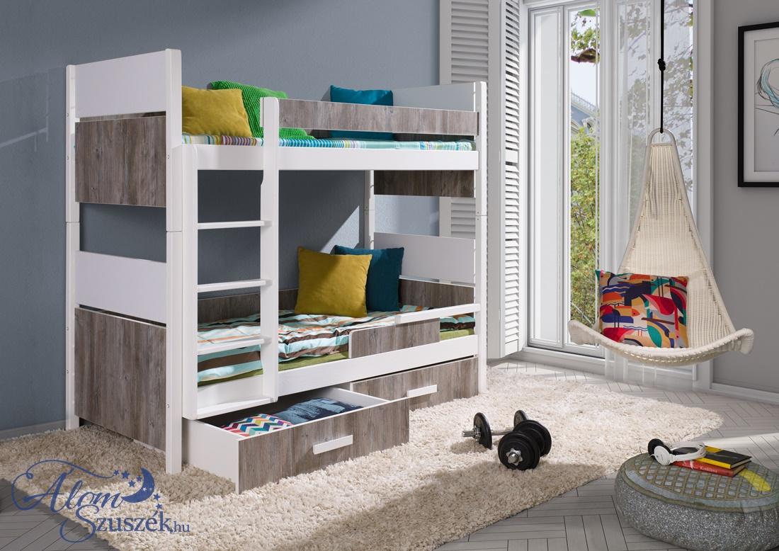 AIRA E bútorlappal kombinált tömör fa emeletes gyerekágy matraccal ágyneműtartóval