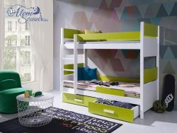 AIRA E bútorlappal kombinált tömör fa emeletes gyerekágy matraccal ágyneműtartóval 2.Kép