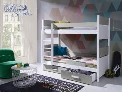 AIRA E bútorlappal kombinált tömör fa emeletes gyerekágy matraccal ágyneműtartóval 3.Kép