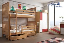 BRUNO tömör fa emeletes gyerekágy ágyneműtartóval 2.Kép
