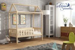 KUCKO ház alakú tömör fa leesésgátlós gyerekágy matraccal 4.Kép