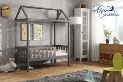 KUCKO ház alakú tömör fa leesésgátlós gyerekágy matraccal 5.Kép