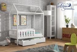 KUCKO 2 ház alakú tömör fa leesésgátlós gyerekágy ágyneműtartóval 3.Kép