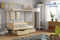 KUCKO 2 ház alakú tömör fa leesésgátlós gyerekágy ágyneműtartóval 4.Kép
