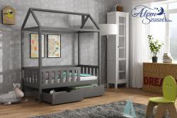 KUCKO 2 ház alakú tömör fa leesésgátlós gyerekágy ágyneműtartóval 1.Kép