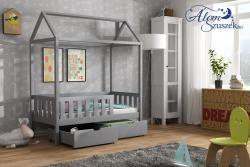 KUCKO 2 ház alakú tömör fa leesésgátlós gyerekágy ágyneműtartóval 9.Kép