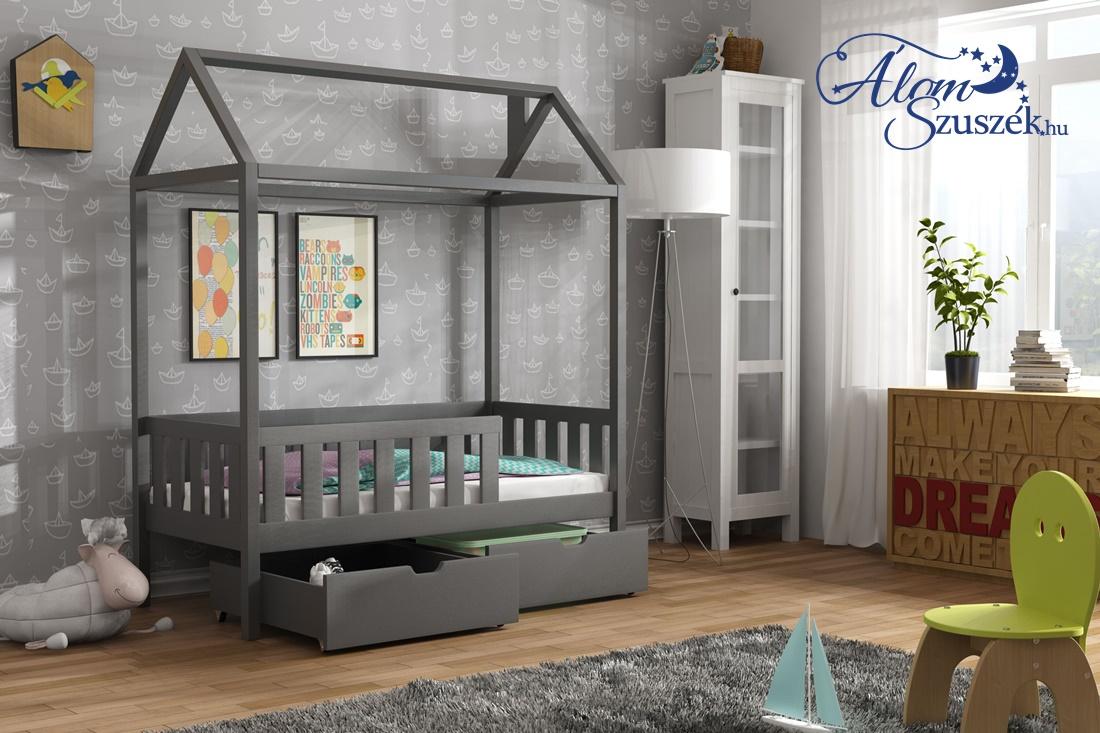 KUCKO 2 ház alakú tömör fa leesésgátlós gyerekágy ágyneműtartóval