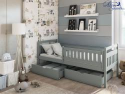 PAULA tömör fa leesésgátlós gyerekágy ágyneműtartóval 2.Kép