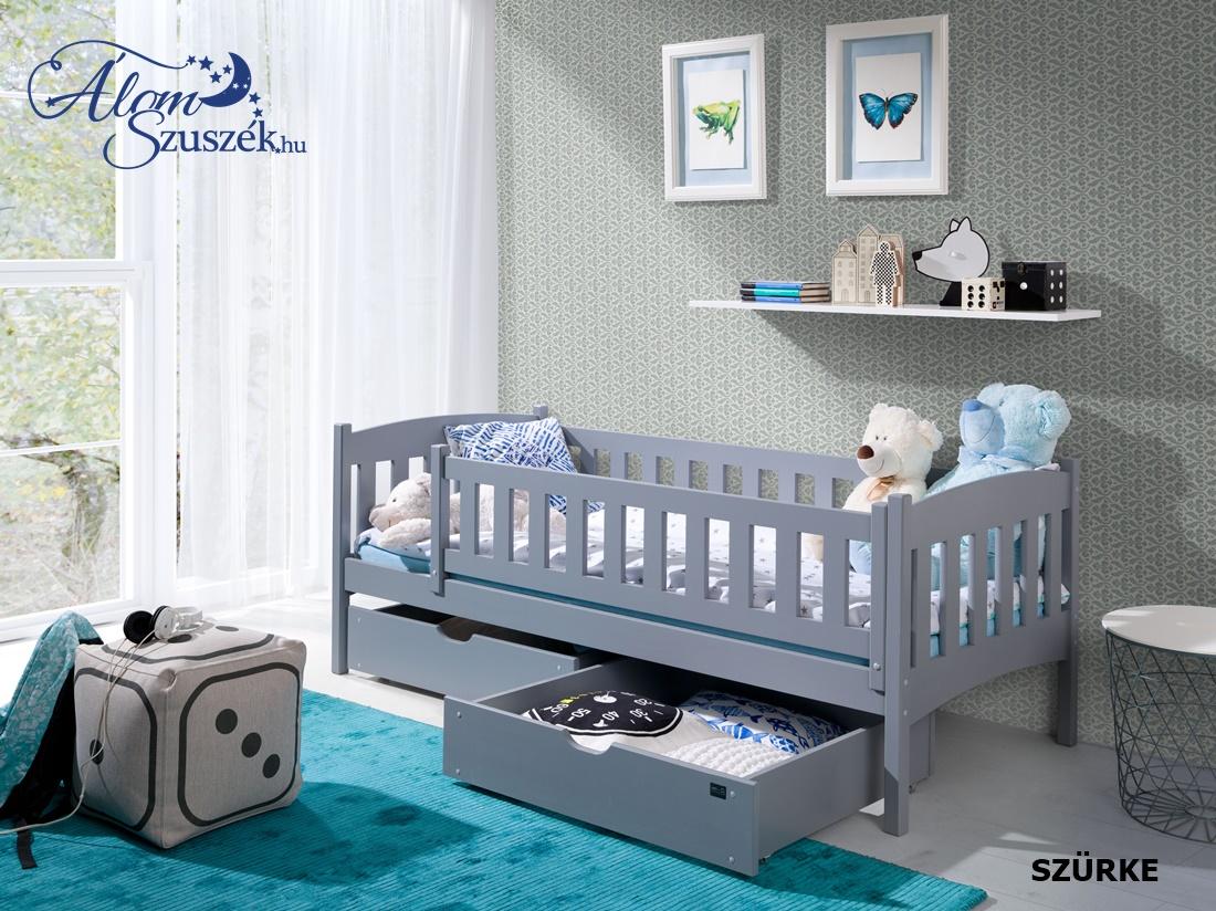 GUCIO tömör fa leesésgátlós gyerekágy ágyneműtartóval
