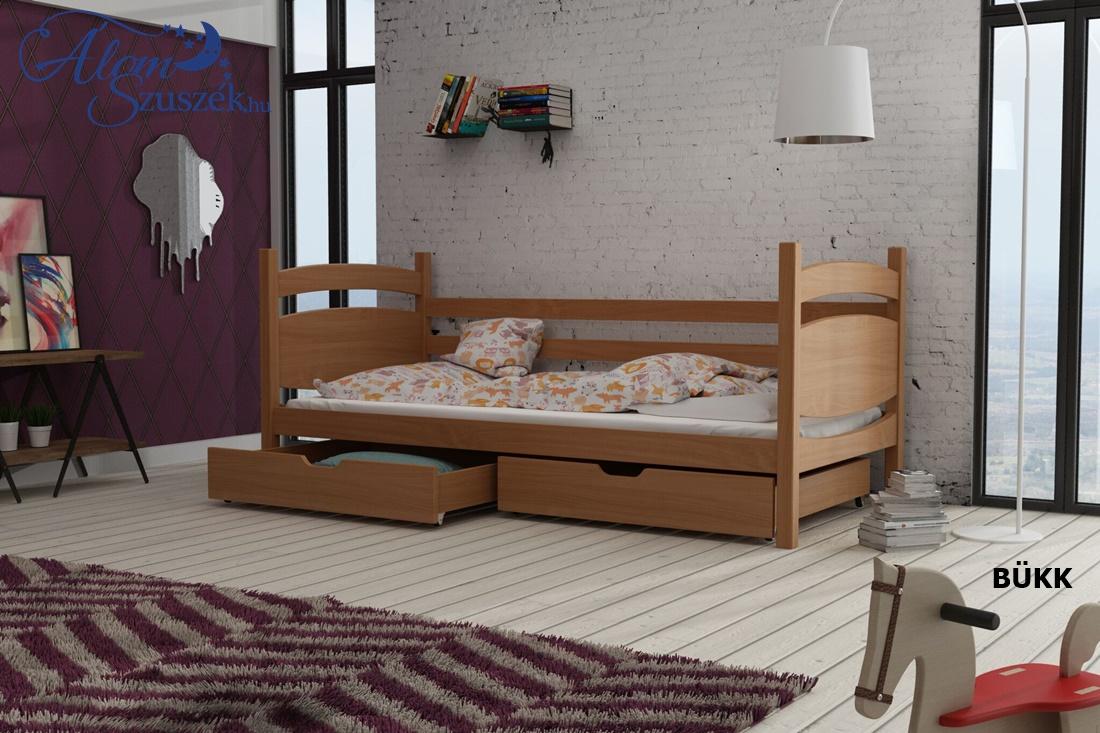 ANDY tömör fa leesésgátlós gyerekágy ágyneműtartóval