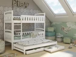 ANATOL tömör fa háromszemélyes emeletes gyerekágy ágyneműtartóval 2.Kép