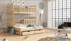 LARA tömör fa háromszemélyes emeletes gyerekágy ágyneműtartóval 4.Kép