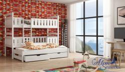 FRANKLIN 3 tömör fa háromszemélyes emeletes gyerekágy ágyneműtartóval 3.Kép