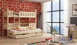 FRANKLIN 3 tömör fa háromszemélyes emeletes gyerekágy ágyneműtartóval 4.Kép