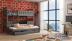FRANKLIN 3 tömör fa háromszemélyes emeletes gyerekágy ágyneműtartóval 5.Kép
