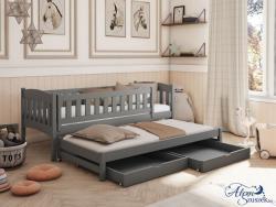 AMANDA tömör fa kétszemélyes gyerekágy kihúzható ággyal ágyneműtartóval 2.Kép
