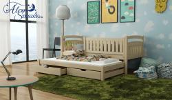 GALAXY tömör fa kétszemélyes gyerekágy kihúzható ággyal ágyneműtartóval 4.Kép
