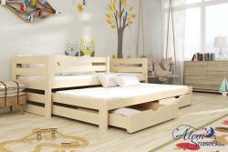 KUBU tömör fa leesésgátlós kétszemélyes gyerekágy kihúzható ággyal ágyneműtartóval 1.Kép