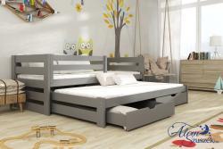 KUBU tömör fa leesésgátlós kétszemélyes gyerekágy kihúzható ággyal ágyneműtartóval 4.Kép