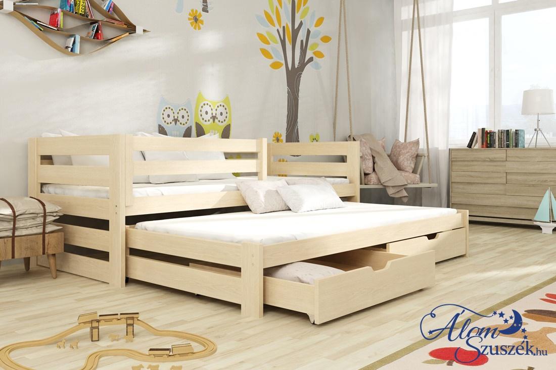 KUBU tömör fa leesésgátlós kétszemélyes gyerekágy kihúzható ággyal ágyneműtartóval