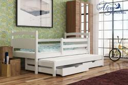KLEO tömör fa kétszemélyes gyerekágy kihúzható ággyal ágyneműtartóval 3.Kép