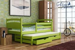 KLEO tömör fa kétszemélyes gyerekágy kihúzható ággyal ágyneműtartóval 11.Kép