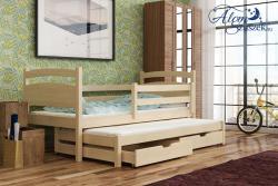 KLEO tömör fa kétszemélyes gyerekágy kihúzható ággyal ágyneműtartóval 2.Kép