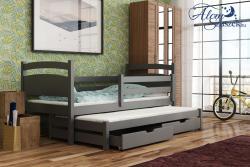 KLEO tömör fa kétszemélyes gyerekágy kihúzható ággyal ágyneműtartóval 4.Kép