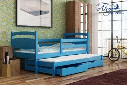 KLEO tömör fa kétszemélyes gyerekágy kihúzható ággyal ágyneműtartóval 5.Kép