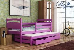 KLEO tömör fa kétszemélyes gyerekágy kihúzható ággyal ágyneműtartóval 6.Kép