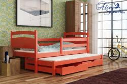 KLEO tömör fa kétszemélyes gyerekágy kihúzható ággyal ágyneműtartóval 7.Kép