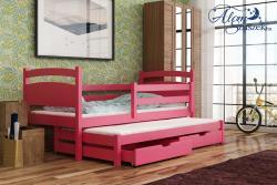 KLEO tömör fa kétszemélyes gyerekágy kihúzható ággyal ágyneműtartóval 8.Kép