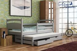 KLEO tömör fa kétszemélyes gyerekágy kihúzható ággyal ágyneműtartóval 9.Kép