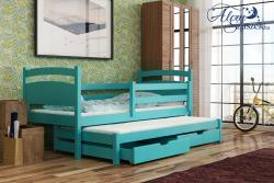 KLEO tömör fa kétszemélyes gyerekágy kihúzható ággyal ágyneműtartóval 10.Kép