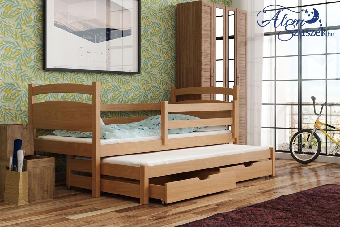 KLEO tömör fa kétszemélyes gyerekágy kihúzható ággyal ágyneműtartóval