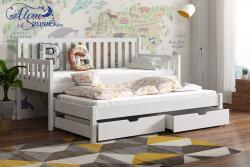 LAURA tömör fa kétszemélyes gyerekágy kihúzható ággyal ágyneműtartóval 3.Kép